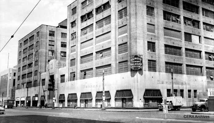 View from 12th and Lucas Streets, showing the IT Central Terminal Building, on 12th Street between Lucas and Delmar in St. Louis, Missouri on May 21, 1954. (Photographer unknown - CERA Archives)