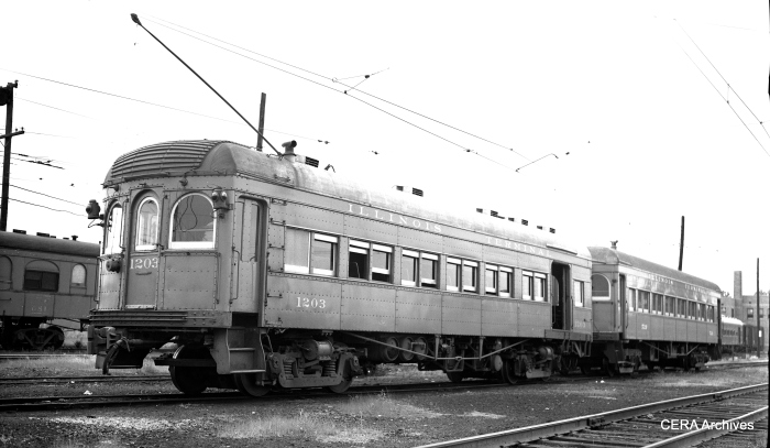 A three-quarter view of IT 1203 as it appeared in Springfield, Illinois, on June 11, 1953. (Photographer unknown - CERA Archives)