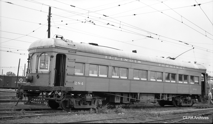 A three-quarter view of IT 284 taken in Springfield, Illinois, on June 11, 1953. (Photographer unknown - CERA Archives)