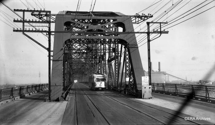 View looking east showing IT car 457 eastbound on the west side of the McKinley Bridge in St. Louis, taken on November 13, 1954. (Photographer unknown - CERA Archives)