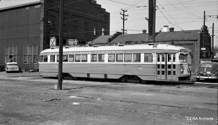 "IT ""muzzle-loader"" double-end PCC 451, on the St. Louis-Granite City line in 1952. (Photographer unknown - CERA Archives)"