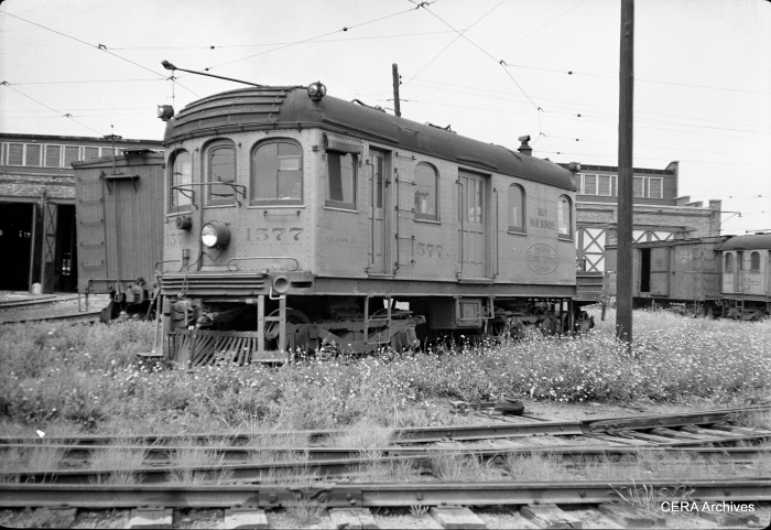 It loco 1577, used on the Bloomington line, is shown at the Decatur shops. (Photographer unknown - CERA Archives)