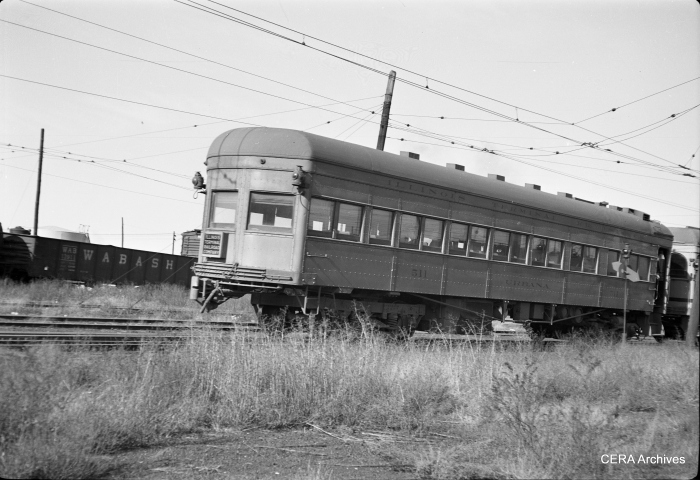 "IT parlor cal 511, the ""Urbana,"" on the Springfield wye in February 1951. (Photographer unknown - CERA Archives)"
