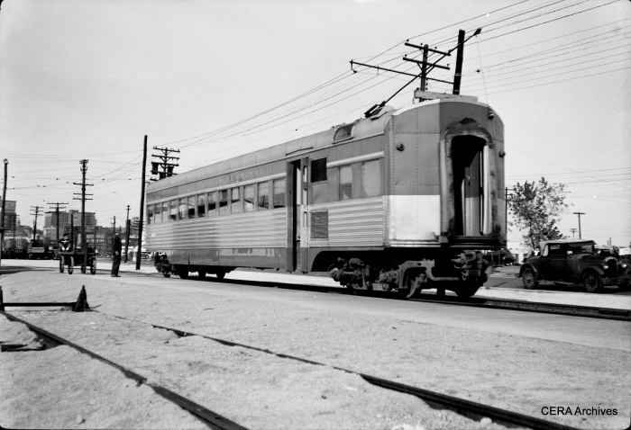 An IT streamliner parlor car at East Peoria. These often had to be uncoupled due to clearance problems. Some of these cars, generally considered to be unsuccessful, were not scrapped until the 1980s, but none survive. (Photographer unknown - CERA Archives)