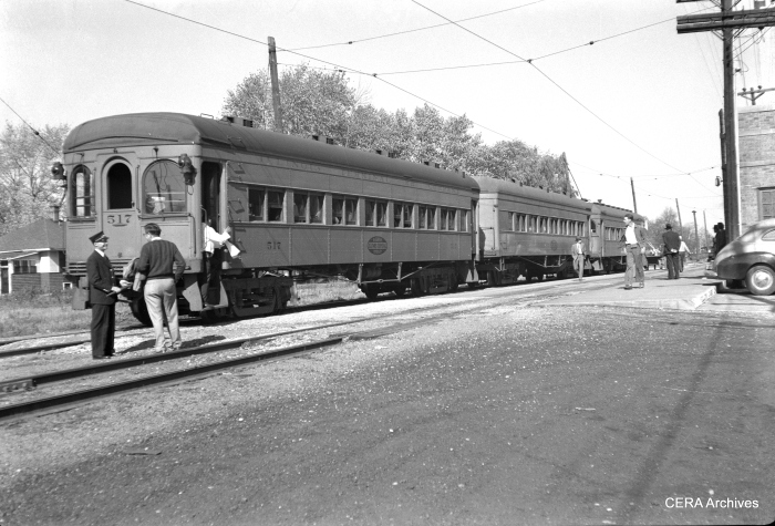IT 517, 282 and 535 on a three-car football special at Decatur in Fall 1949. (Photographer unknown - CERA Archives)
