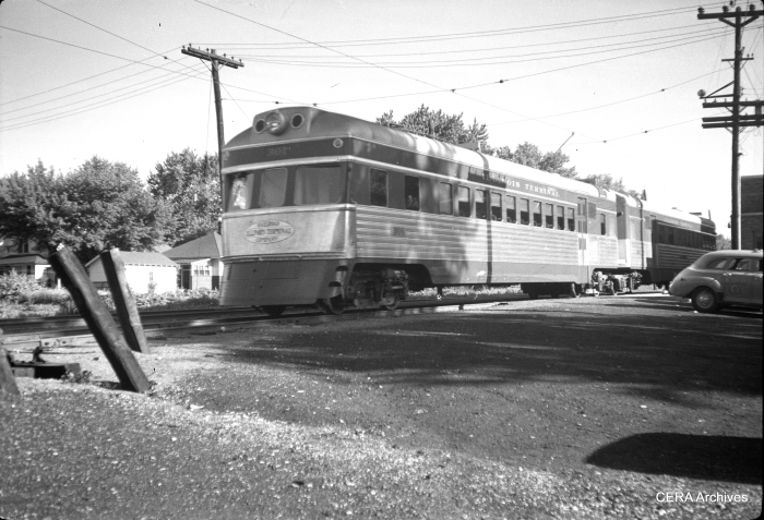 "IT streamliner 301, the ""City of Decatur,"" in Decatur in December 1949. (Photographer unknown - CERA Archives)"