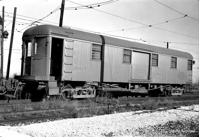 IT wooden baggage trailer 607, ex-1060 series with experimental motors, in Springfield on November 7, 1948. (Photographer unknown - CERA Archives)