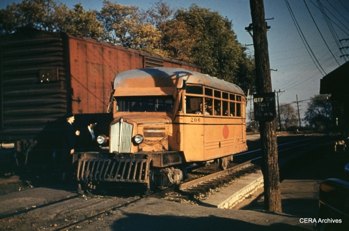 IT Railbus 206 in Alton-Grafton service in November 1952. It was built by White in 1939 and has a Mack engine. It is now preserved at the Museum of Transportation in St. Louis. (Photographer unknown - CERA Archives)