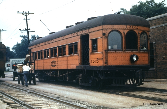 "IT 1202 in 1949. According to Don's Rail Photos, ""1202 was built by McGuire-Cummings in 1910 as an express motor with 20 seats at the rear. In 1919 it was rebuilt with a small baggage section at the front and the trucks were changed from Curtis to Baldwin. It was renumbered 202 on December 28, 1953, and sold for scrap in 1956."" (Photographer unknown - CERA Archives)"