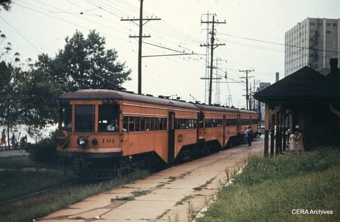 IT 101 and train at Alton in 1949. (Photographer unknown - CERA Archives)
