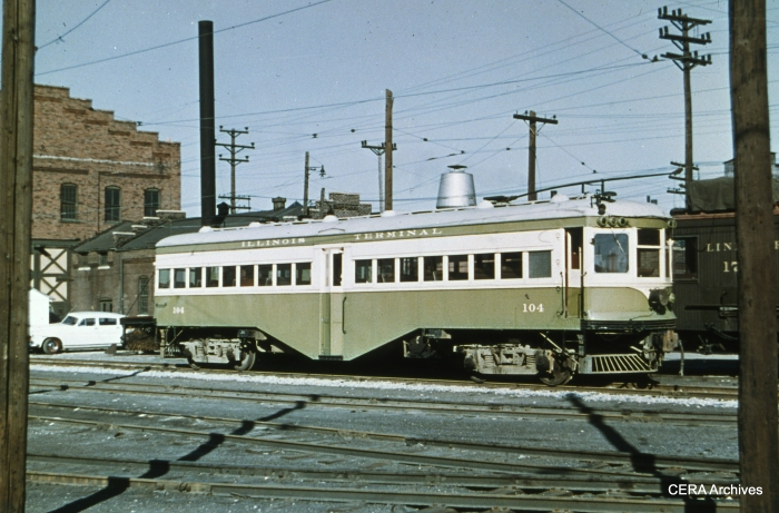 IT 104 at the Granite City Shops in May 1953. (Photographer unknown - CERA Archives)