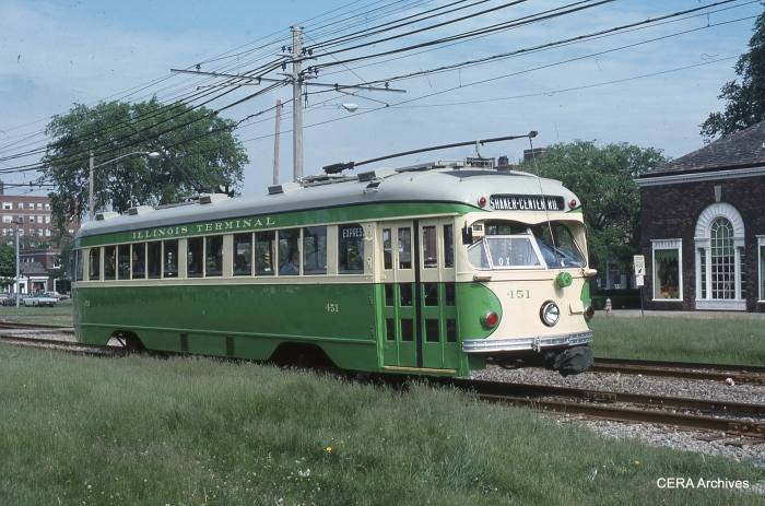 IT 451 at Shaker Square on the Cleveland RTA in June 1976. (Photographer unknown - CERA Archives)