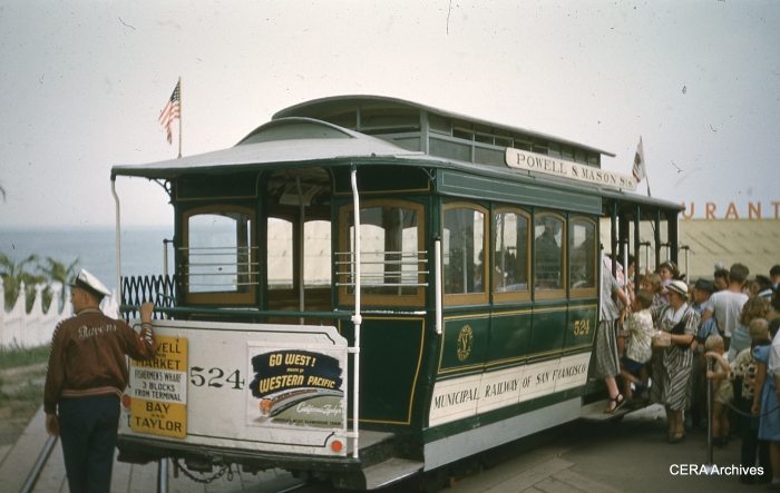The last Chicago cable car (to date) ran along the lakefront at the 1948-49 Chicago Railroad Fair, using an authentic San Francisco car. (Photographer unknown - CERA Archives)