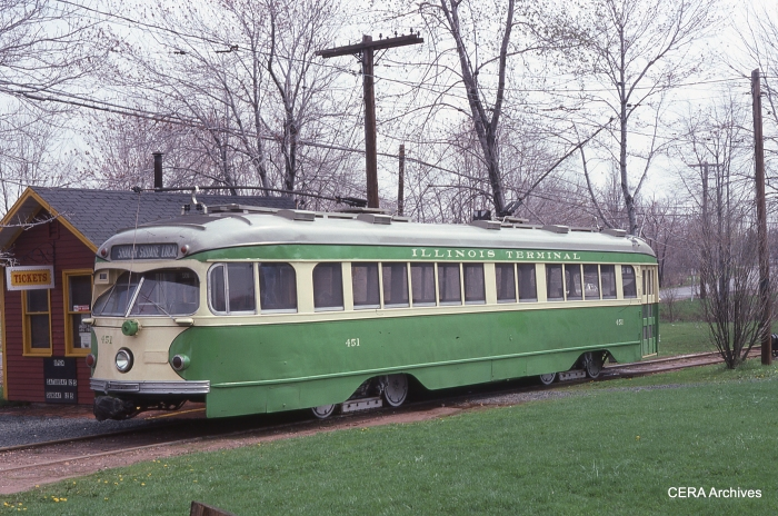 IT car 451 at the Connecticut Trolley Museum on April 29, 1979. You can read an interesting history of this car here. (Photographer unknown - CERA Archives)
