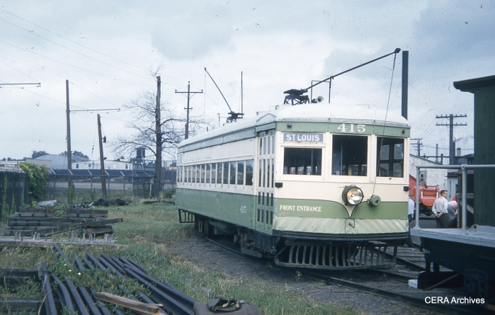 IT 415 at the Illinois Electric Railway Museum in North Chicago on September 15, 1957. (Charles L. Tauscher Photo - CERA Archives)
