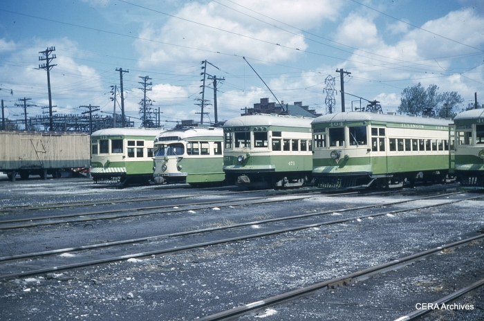 Cars 415-450-471-404-405 at Granite City on September 4, 1953. (Photographer unknown - CERA Archives)