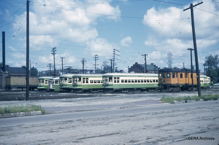 The general barn view at Granite City on September 4, 1953. Car 415, now preserved at the Illinois Railway Museum, is at the left. (Photographer unknown - CERA Archives)