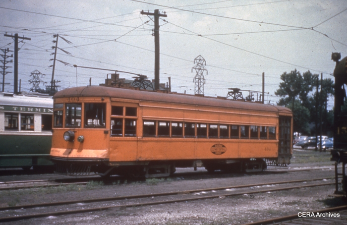 "IT 404, still in ""Traction Orange,"" in Granite City on June 10, 1952. (Photographer unknown - CERA Archives)"