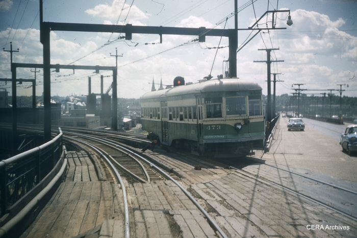 Car 473 at the west end of the McKinley Bridge in St. Louis in April 1958, two months before passenger service ended. (Photographer unknown - CERA Archives)