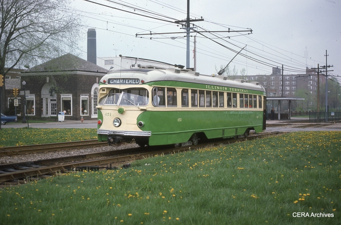 IT 451 in charter service on the Shaker Heights Rapid Transit in May 1976. (Photographer unknown - CERA Archives)