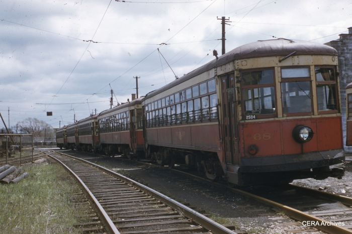 RTC 68 lined up with other cars on April 30, 1956. (Photographer unknown - CERA Archives)