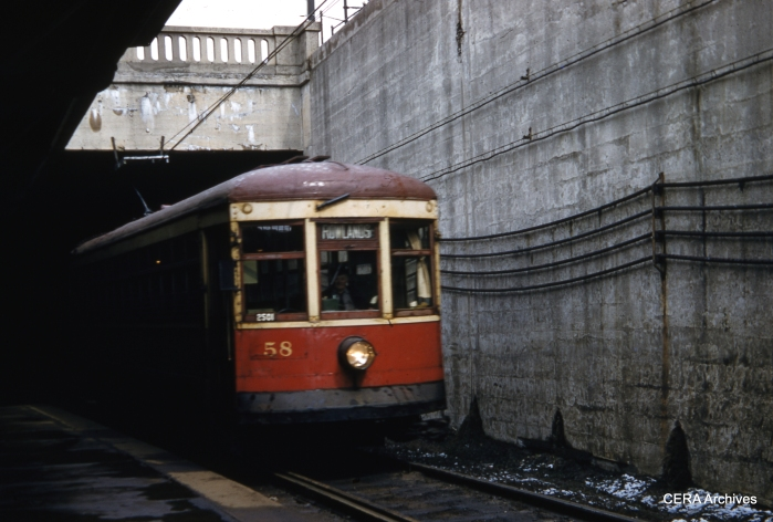 RTC 58 emerges from the subway on March 30, 1956. (Photographer unknown - CERA Archives)