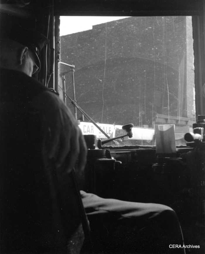 Motorman Claude Stephens at the helm of IR 65. (Photographer unknown - CERA Archives)