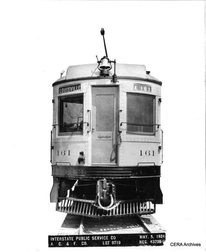 "A builder's photo of Interstate Public Service Co. car 161 from 1924. According to Don's Rail Photos, ""161 was built by American Car & Foundry in 1923 as a parlor-buffet. It was rebuilt as IRR 738 an express motor in 1937 and retired in 1941."" (Photographer unknown - CERA Archives)"