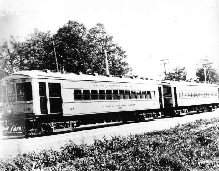 Indiana Service Corp. (one of the predecessor companies to Indiana Railroad) car 378 with parlor car 390 in Ft. Wayne on July 20, 1926. 378 was built in 1926 by St. Louis Car Co. (Photographer unknown - CERA Archives)