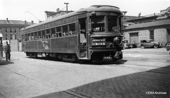 IR lightweight high-speed interurban car 55 at the Indianapolis Traction Terminal. This car was sold to Lehigh Valley Transit in 1941, where it was modified into car 1030, the pride of the LVT fleet. (Photographer unknown - CERA Archives)