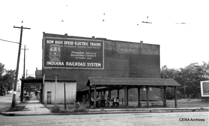 The passenger waiting area in Anderson. The line between Indianapolis and Anderson was the last segment of the once-great interurban to be abandoned in 1941, as the result of a fatal head-on crash. (Photographer unknown - CERA Archives)