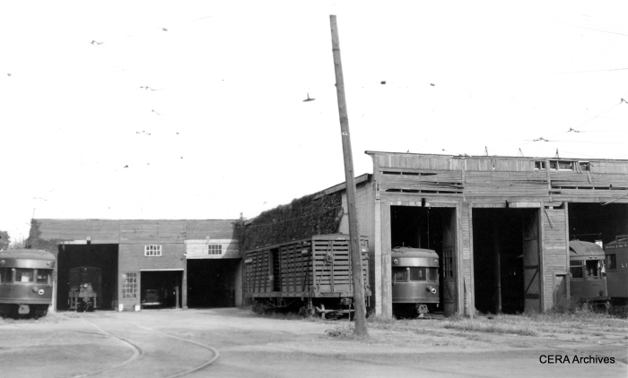 An IR car barn at an unidentified location. (Photographer unknown - CERA Archives)