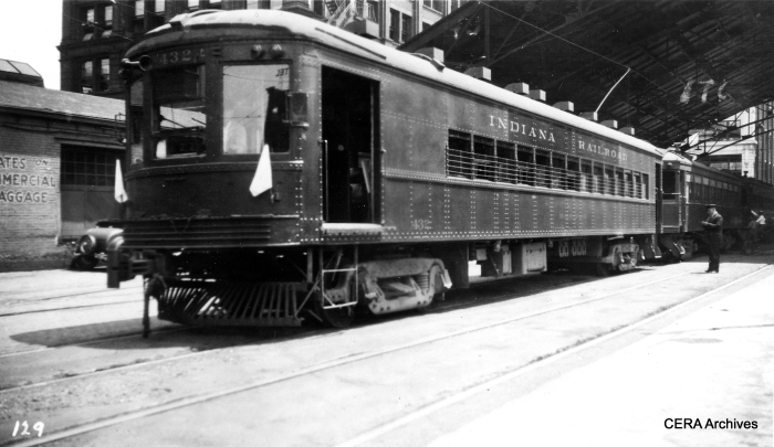 IR heavyweight interurban car 432 in the 1930s at the Indianapolis Traction Terminal. When built in 1904, it was the largest interurban station in the world, with lines radiated out in all directions. This car was built by St. Louis Car Co. in 1925. (Photographer unknown - CERA Archives)
