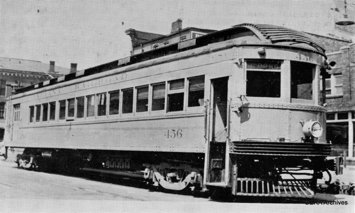 "IR 456. Don's Rail Photos says, ""450 thru 456 were built by Cincinnati Car in 1919 as 150 thru 152 and 154 thru 157 of the Interstate Public Service Co. In the consolidation, they were renumbered, but they carried PSC initials for the successor to IPS, Public Service Corp. of Indiana. They were converted to one man operation in 1936 and retired in 1938."" (Barney Neuburger Photo - CERA Archives)"