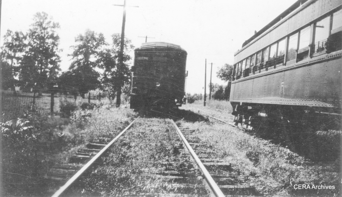 IR 432 (head on) meets 446 at Legro on August 3, 1937, on the long line from Ft. Wayne to Indianapolis via Kokomo and Peru. Service was discontinued on August 24, 1938, with the last trip on September 10th. (Photographer unknown - CERA Archives)