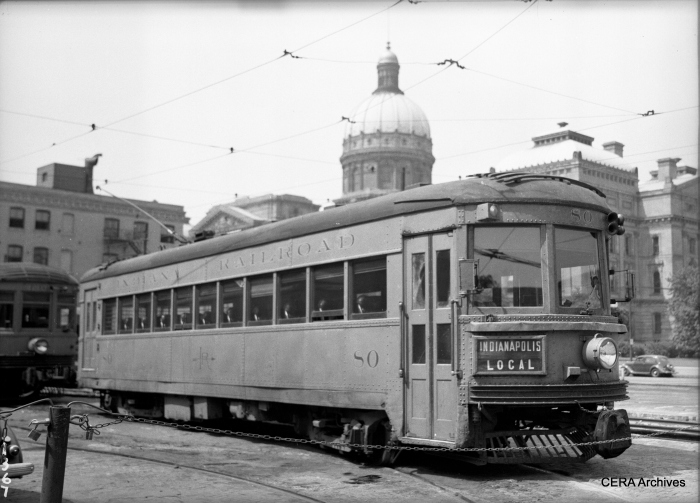 IR lightweight high-speed interurban 80, with the Indiana state capitol, which was completed in 1888, as backdrop. (Photographer unknown - CERA Archives)