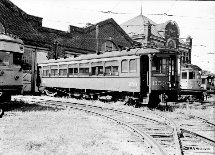 "Don's Rail Photos says, ""1150 was built by Jewett in 1913 for the Grand Rapids Holland & Chicago as 21. In 1916 it became Michigan Rys. 113. When that company broke up in 1924, it reverted to the GRH&C as 113. In 1927 it was sold to IT as 443 and was named ""Elwood"". When taken into the IRR in 1930 it lost its name but kept its number. In 1934 it became wreck motor 1150."" (Photographer unknown - CERA Archives)"