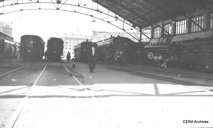 The Indianapolis Traction Terminal train shed, before most of the tracks were paved for use by buses. (Photographer unknown - CERA Archives)