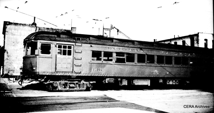 "IR 446 had an interesting history, according to Don's Rail Photos: ""446 thru 449 were built by Cincinnati Car in 1923 as part of an order of 10 cars for the Indianapolis & Southeastern RR. When they were replaced by lightweight cars in 1928, six cars were sold to Milwaukee and converted into three truck trains. The other four cars went to Union Traction as their 446 thru 449 in 1929. They were soon included in the IRR. In 1936, they were converted to one man operation. They were retired in 1938, and car 446 became the wreck motor for another two years. "" (Photographer unknown - CERA Archives)"