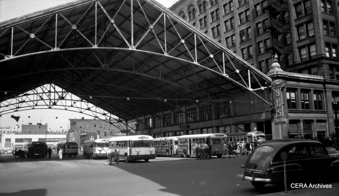 The former Indianapolis Traction Terminal during the 1950s, when it was used exclusively by buses. (Photographer unknown - CERA Archives)