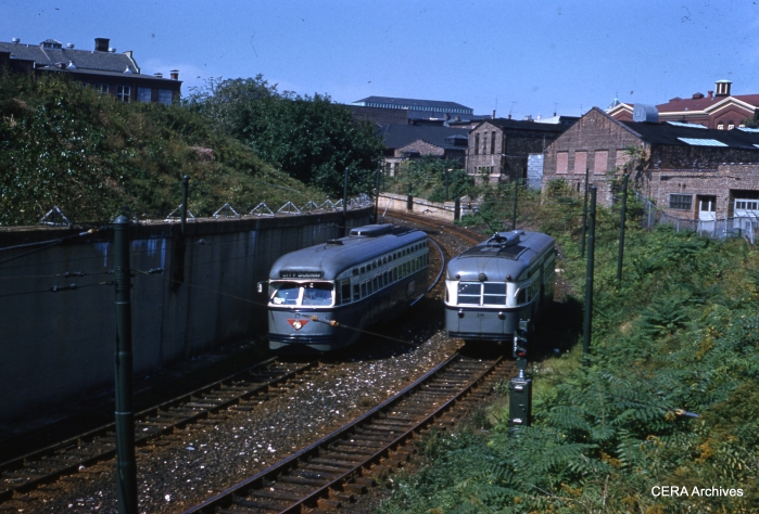 Cars 17 and 18 pass at the subway portal on September 25, 1960. (Photographer Unknown - CERA Archives)