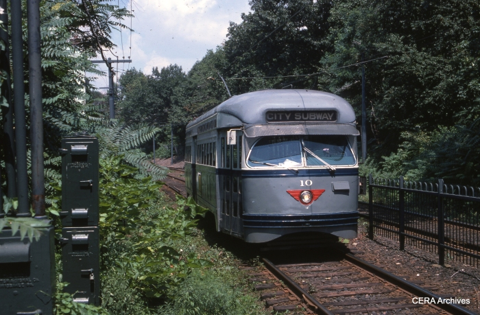PCC 10 at Heller Parkway on July 22, 1975. (William J. Madden Photo - CERA Archives)