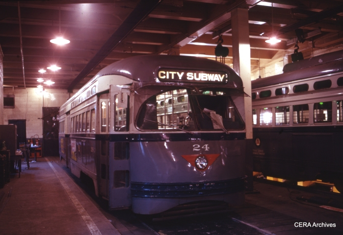 PCC 24 at the Newark shops on January 22, 1971. (Photographer Unknown - CERA Archives)