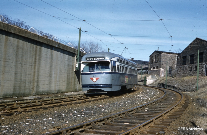 PCC 23 at the subway portal near Warren Street on March 17, 1959. (Joseph P. Saitta Photo Unknown - CERA Archives)