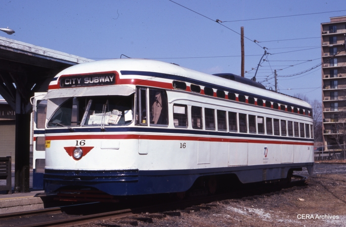 Car 16 at Franklin Avenue on March 9, 1980. (Photographer Unknown - CERA Archives)