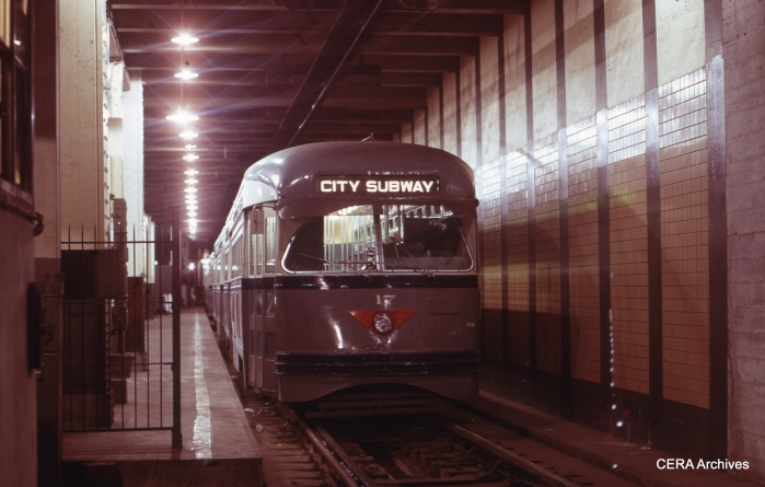 PCC 17 at Penn Station on January 22, 1971. (Photographer Unknown - CERA Archives)