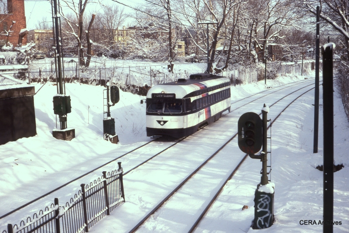 PCC 9 in the snow at Davenport Station in August 1992. (Photographer Unknown - CERA Archives)