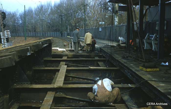 Track work in April 1960. (Photographer Unknown - CERA Archives)