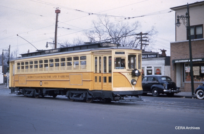 Car 3213 on September 9, 1945, during the years when the Newark City Subway still connected to surface streetcar routes. (Photographer Unknown - CERA Archives)