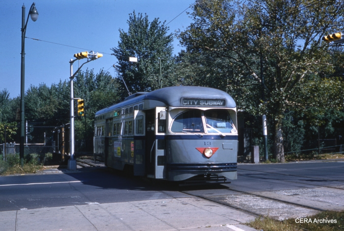 PCC 13 at Orange Street on September 25, 1960. (Joseph P. Saitta Photo - CERA Archives)